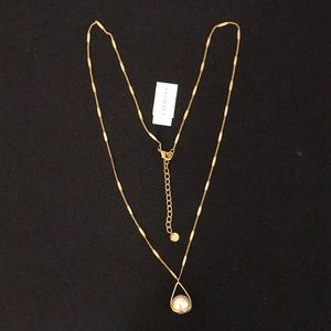 TALBOTS Gold Necklace with Caged Pearl